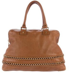 Tory Burch Chain Link-Trimmed Leather Bag - BROWN - STYLE