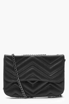 boohoo Zig Zag Quilted PU Chain Strap Cross Body