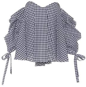 Caroline Constas Gabriella checked cotton top