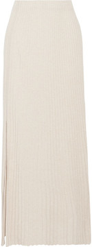 Elizabeth and James Joelle Ribbed Stretch-knit Maxi Skirt - Beige