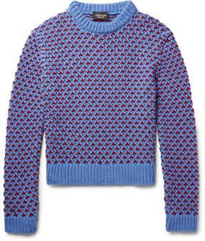 Calvin Klein Two-Tone Birdseye Wool-Blend Sweater