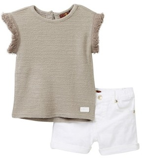 7 For All Mankind Summer Sweater & Short 2-Piece Set (Baby Girls)
