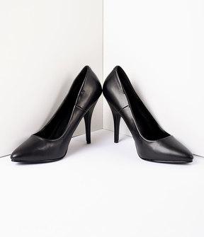 Unique Vintage Vintage Style Black Leatherette Seduce Pumps Shoes