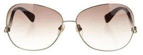 Diane von Furstenberg Metallic Oversize Sunglasses