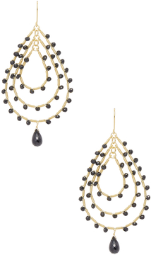 Candela Women's 18K Yellow Gold Over Silver Spinel Teardrop Dangle Earrings