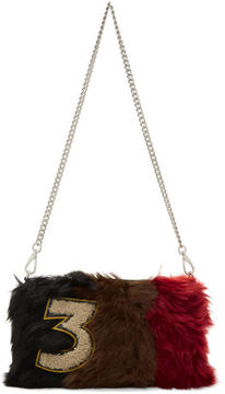 Miu Miu Brown Striped Fur Clutch