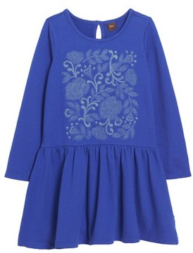 Tea Collection Toddler Girl's Feather & Fan Embroidered Drop Waist Dress