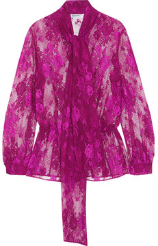 Balenciaga Lavalliere Pussy-bow Stretch-lace Blouse - Pink
