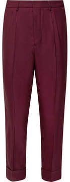 Ami Slim-Fit Tapered Pleated Stretch-Twill Trousers