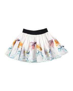 Molo Brenda Graceful Swimmers A-Line Skirt, White, Size 2T-14