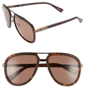 Lanvin Men's Aviator Sunglasses - Dark Havana/ Brown