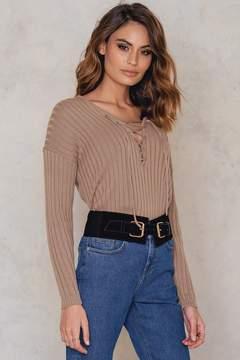 NA-KD Na Kd V neck Lacing Front Rib Knitted Sweater