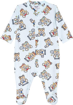 Moschino Blue All Over Bear Print Babygrow in Giftbox