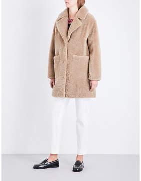 Claudie Pierlot Ladies Beige Luxurious Notch-Lapel Shearling Coat