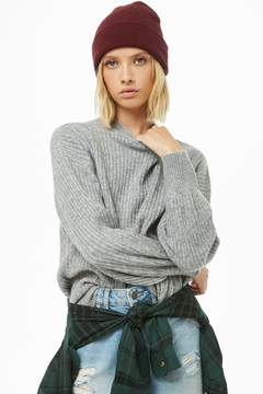 Forever 21 Ribbed Knit Balloon-Sleeve Sweater