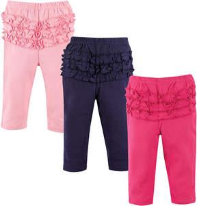Hudson Baby Light Pink, Navy & Pink Ruffle Leggings Set - Infant