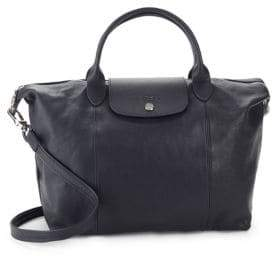 Longchamp Le Pliage Cuir Leather Medium Top Handle Bag