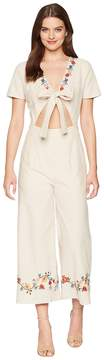 J.o.a. Embroidered Tie Front Jumpsuit Women's Jumpsuit & Rompers One Piece