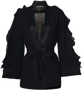 Alberta Ferretti frill belted knitted coat