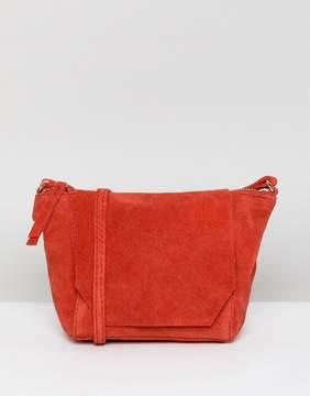 Asos DESIGN suede angled flap cross body bag
