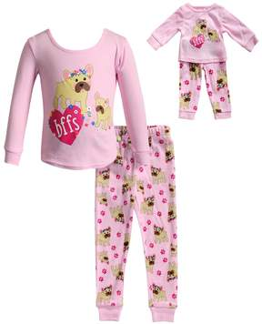 Dollie & Me Girls 4-14 bffs Dog Top & Bottoms Pajama Set