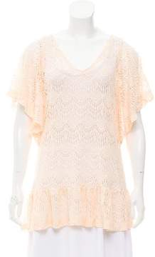 Eberjey Crochet Fluted Hem Top w/ Tags
