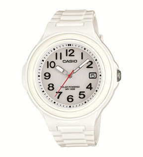 Casio Womens White Bezel White Resin Strap Solar Watch LXS700H-7BV