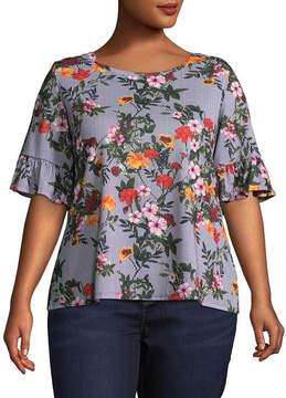 Boutique + + Short Sleeve Scoop Neck Floral Blouse - Plus