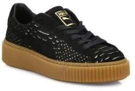 Puma Basket Snakeskin-Embossed Suede Platform Sneakers