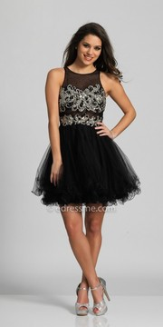 Dave and Johnny Keyhole Open Back Illusion Tulle Homecoming Dress
