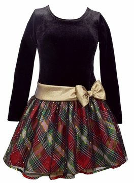 Bonnie Jean Plus Size Girls 7-16 Plaid Dropwaist Velvet Dress