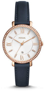 Fossil Jacqueline Three-Hand Date Navy Leather Watch