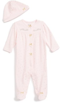 Little Me Infant Girl's Rose Gold Footie & Beanie Set