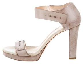 Brunello Cucinelli Distressed Ankle Strap Sandals