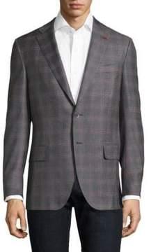 Isaia Slim-Fit Windowpane Boucle Wool Sportcoat