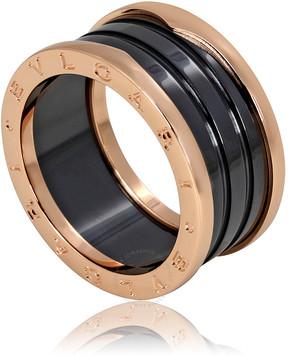 Bvlgari B.Zero1 4 Band 18K Pink Gold Black Ceramic Ring - Size 10.5