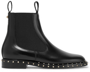 Valentino Studded Leather Chelsea Boots - Black