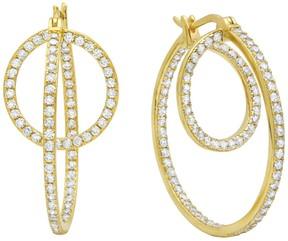Crislu 18K Gold Plated Sterling Silver CZ Pave Twin Hoop Earrings