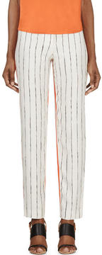 Cédric Charlier Orange and Ivory Printed Silk Twill Trousers