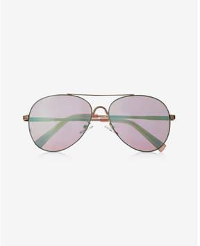 Express turquoise flash lens aviator sunglasses