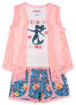 Little Lass Little Girls' 4-6X Mermaid Squad Tank, Lace Vest, and Printed Chambray Short 3-Piece Set