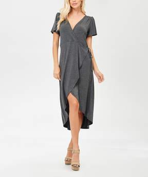 Bellino Charcoal Tie-Waist Wrap Dress - Women