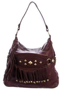 Michael Kors Embellished Leather Hobo - PURPLE - STYLE