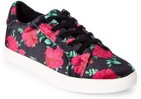 Betsey Johnson Black & Red Bettie Velvet Low Top Sneakers
