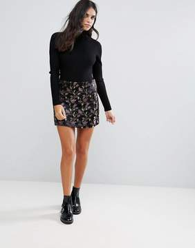 Brave Soul Mini Brocade Print Skirt