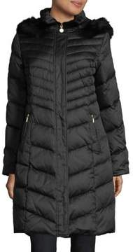 Ellen Tracy Blue Fox Fur-Trimmed Down Puffer Coat