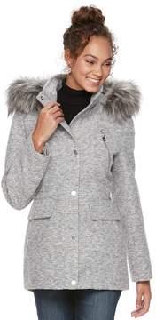 Apt. 9 Women's Wool Blend Faux-Fur Trim Coat