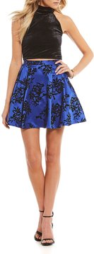 B. Darlin Velvet Top with Flocked Skirt Two-Piece Dress