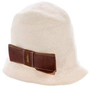 Borsalino Bow-Embellished Straw Bucket Hat