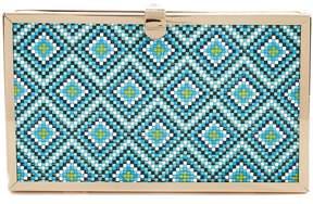 Kate Landry Tribal-Print Frame Clutch